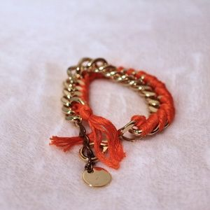 Jewelry - Orange Thread and Gold Chain Bracelet